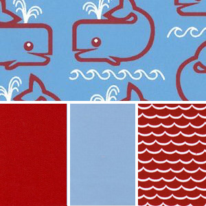Whale Print Fabric - 100% Cotton | Nautical Fabric Collection