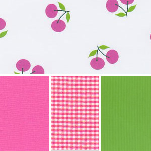 Cherries Fabric: Pink & Green | Cherry Print Fabric