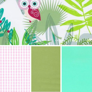 Cutesy Owl Fabric: Pink & Green | Owl Print Fabric