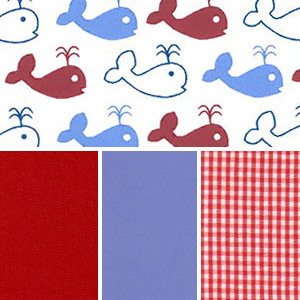 Whale's Tale - Red & Blue | Whale Cotton Fabric - 100% Cotton