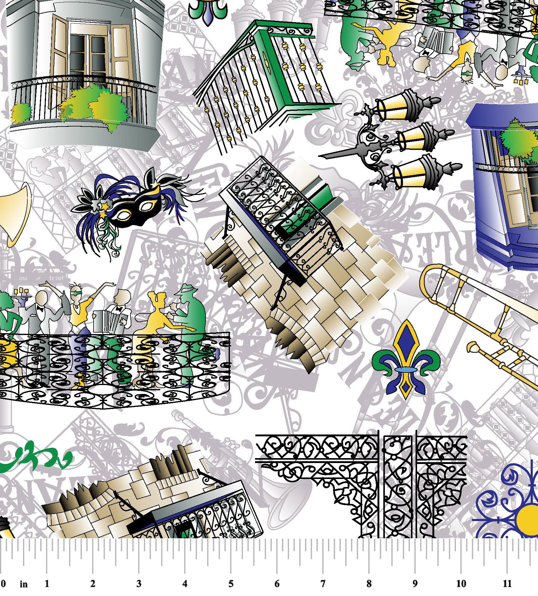New Orleans Fabric Purple Green And Yellow Print 2110