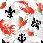 New Orleans Fabric: Red, Black and Green | Crawfish Fabric