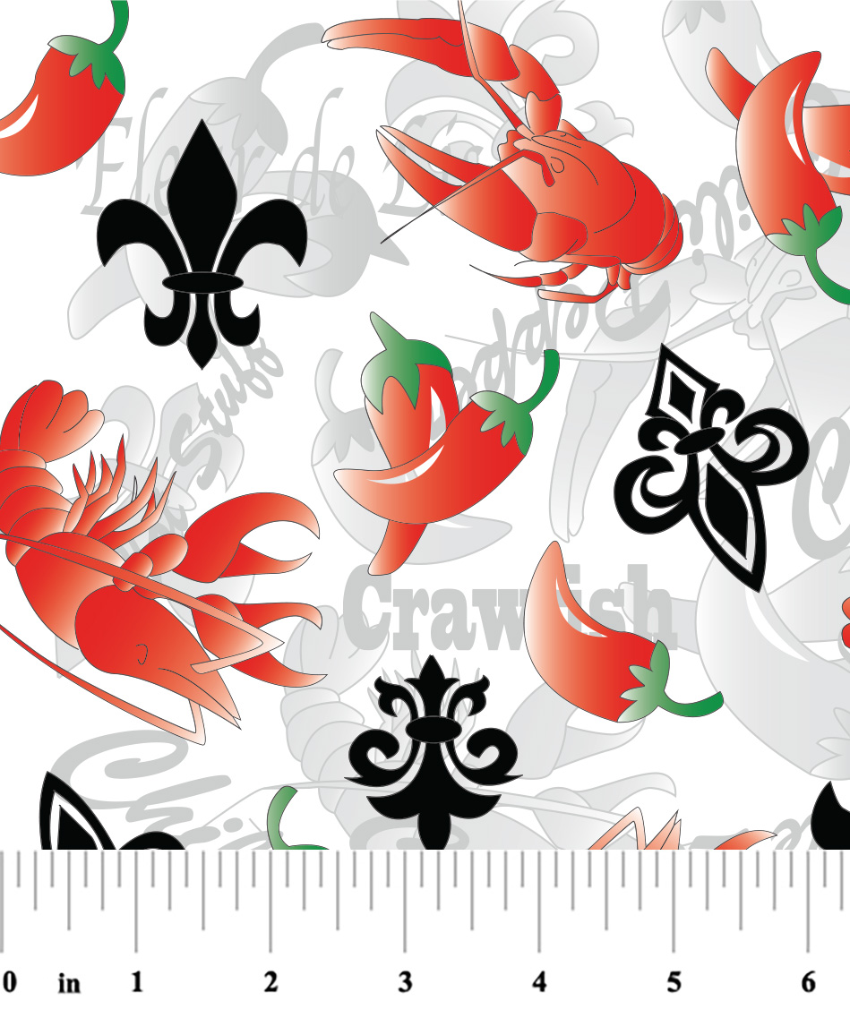 New Orleans Fabric Red Black And Green Crawfish Fabric