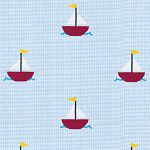 Sailboat Print Fabric: Sailboats on Light Blue | Gingham Print Fabric