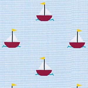 Sailboat Print Fabric: Mini Sailboats on Light Blue Micro-check