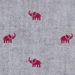 Elephant Print Fabric: Red Elephants on Chambray | Elephant Fabric