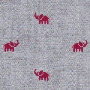 Chambray Printed Fabric: Red Elephants on Charcoal Chambray