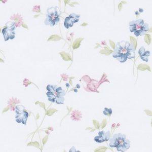 Blue Floral Fabric:100% Cotton | Floral Fabric Wholesale