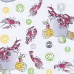 Crawfish Fabric: Red, Green and Yellow | Crawfish Print Fabric