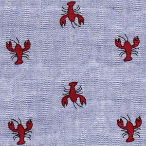 Crawfish Print Fabric: Red Crawfish on Dark Blue Chambray