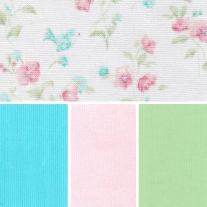 Floral Bird Fabric: Pink & Blue | Floral Cotton Fabric - 100% Cotton