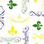 Fleur De Lis Fabric: Purple, Gold & Green | Fleur De Lis Print