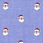 Santa Print Fabric: Santas on Royal Blue Micro Check | Christmas Fabric