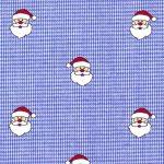 Santa Print Fabric: Santas on Royal Blue Micro Check | Christmas Fabric