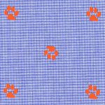 Paw Print Fabric: Orange Paws on Royal Blue Micro Check