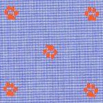Paw Print Fabric: Orange Paws on Royal Blue Micro Check