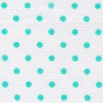 Aqua Dots on White Fabric