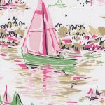 Watercolor Sailboat Print Fabric