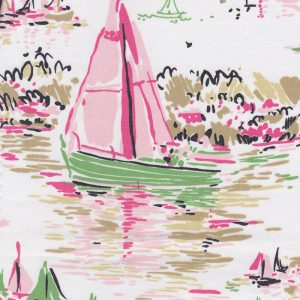 Watercolor Sailboat Print Fabric