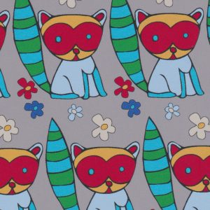 Raccoon Print Fabric: Blue, Green, Red and Grey