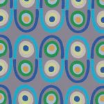 Blue, Green, and Grey Print Fabric | Multicolor Geometric Fabric