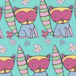 Raccoon Fabric: Pink, Purple, Yellow and Green | Wholesale Fabric