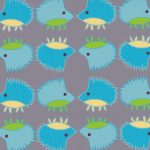 Hedgehog Print Fabric: Blue & Green | Hedgehog Fabric