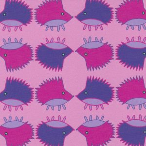 Hedgehog Print Fabric: Pink and Purple | Hedgehog Fabric