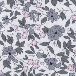 Pink and Grey Floral Fabric - Print #2203