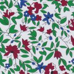 Floral Fabric: Red, Green & Blue - 100% Cotton | Floral Fabric Wholesale