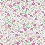 Pink, Tangerine and Green Floral Fabric - Print #2207