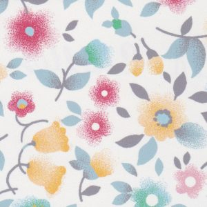 Floral Fabric: Coral, Grey, Soft Blue & Gold | Floral Fabric Wholesale