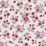 Crimson, Pink and Sage Green Floral Printed Challis Fabric - #2209