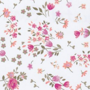 Floral Fabric: Pink, Orange, and Green | Wholesale Challis Fabric