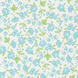 Blue and Lime Green Floral Printed Challis Fabric - #2211
