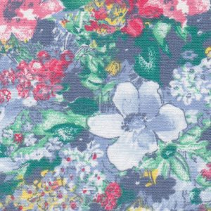 "Blue and Red Floral Fabric: 100% Cotton & 60"" Wide 