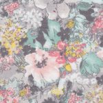 "Grey and Coral Floral Fabric: 100% Cotton & 60"" Wide 