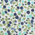 Floral Fabric: Navy, Green & Aqua - 100% Cotton | Floral Fabric Wholesale