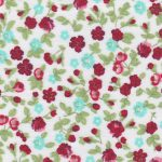 Floral Fabric: Red, Green & Aqua - 100% Cotton | Floral Fabric Wholesale
