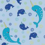 Narwhal Fabric: Blue and Turquoise | Narwhal Fabric - 100% Cotton