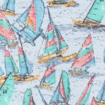 Sailboat Print Fabric: Blue, Turquoise, Red and Yellow | 100% Cotton