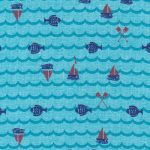Sailboat, Fish, and Oar Print Fabric: Blue and Red