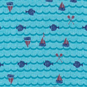 Nautical Theme Fabric: Sailboat, Fish, and Oar Print | 100% Cotton