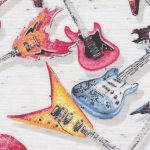 Guitar Print Fabric: Red, Blue, and Yellow