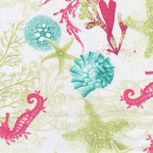 Sea Life Fabric: Seahorse, Starfish, Seashell, and Coral Print Fabric