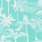 Palm Tree Print Fabric: Aqua and White | Palm Print Fabric