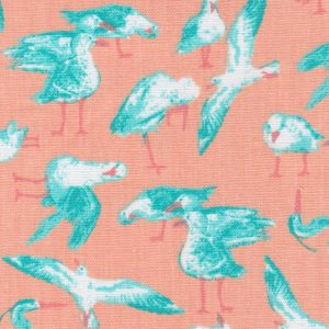 Seagull Fabric: Orange and Aqua - Print #2194 | Bird Print Fabric