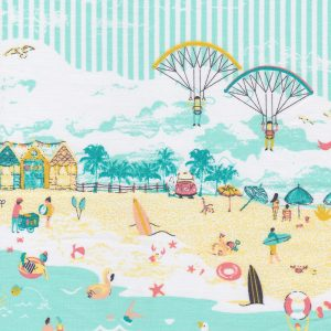 Beach Themed Fabric: Aqua, Yellow & Orange | Beach Scene Fabric