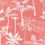 Palm Tree Print Fabric: Orange and White | Palm Print Fabric