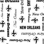 New Orleans Word Print Fabric: Black and White